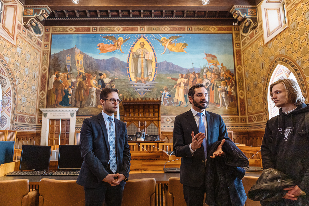 At the parliament of the Republic of San Marino: Samir Mastaki, Nulan CEO and Fabio Righi, Minister of Industry and Technological Research