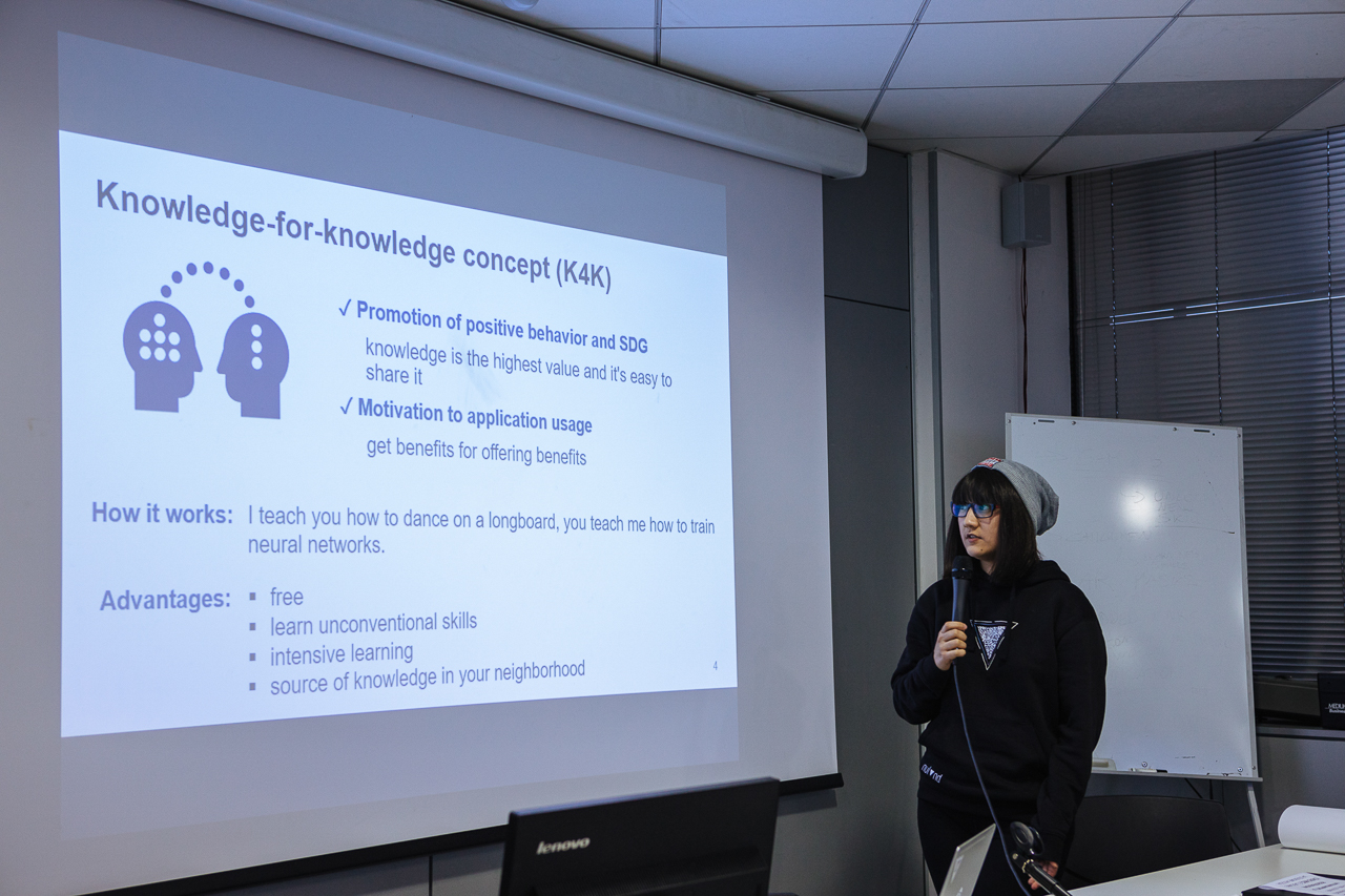 Final presentation – Marina Pak, Skoltech student, Karma Police team, at University of the Republic of San Marino