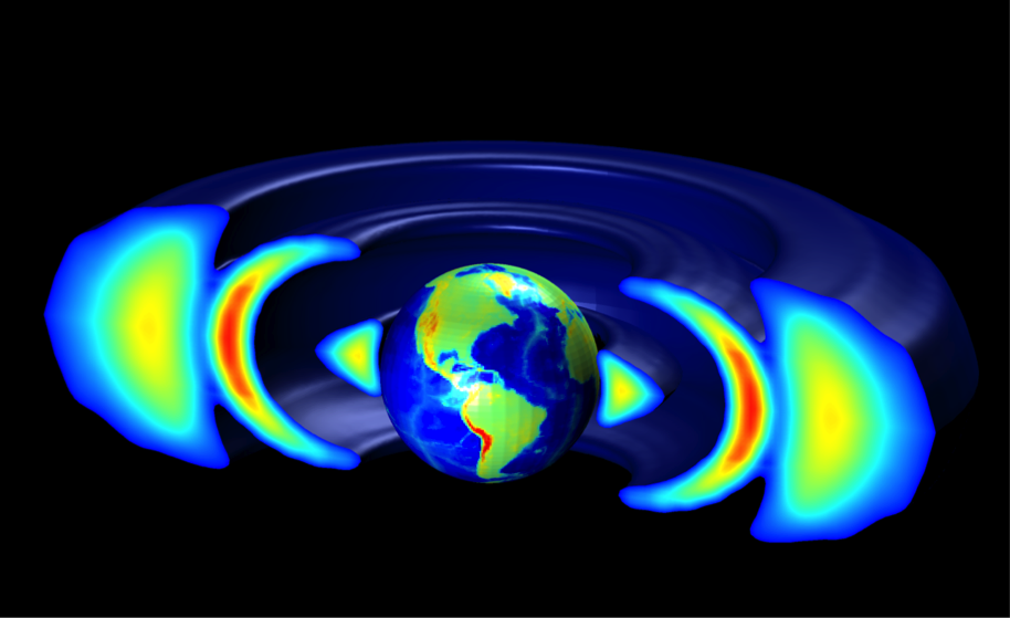 Model showing third radiation ring (red)