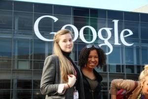 Anna Dubovik (left) visitng Google