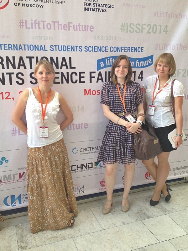 The Skoltech team of young biomedicine researchers and PhD students at the International Students Science Fair in Moscow.