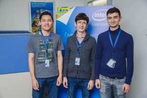 All smiles: from left, Skoltech students Almir Dzhumaev, Alexander Vidiborskyi and Vahe Tahmazyan at Intel Russia.