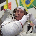 Sergei Krikalev, cosmonaut and guest speaker at Skoltech, wears a training space suit at a NASA training in June 2004