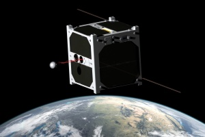 1U CubeSat ESTCube-1, developed mainly by the students from the University of Tartu, carries out a tether deployment experiment on the low Earth orbit. Image courtesy of Wikipedia
