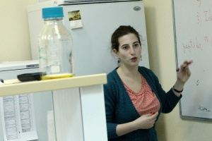 Course instructor Inna Zukher takes students through the intricacies of molecular biology research methods.