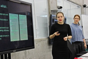 Language Technologies final projects: IT students Tatiana Svistova (front) and Anastasia Pukalova presenting their work.