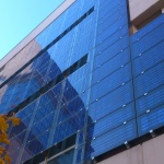 Solar cells facade on a municipal building located in Madrid, Spain. Image courtesy of Wikipedia, CC
