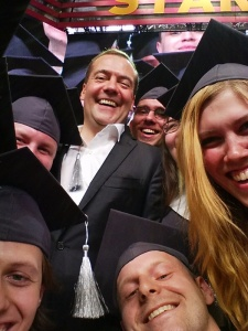 Russian Prime Minister Dmitry Medvedev poses for a 'selfie' photo with graduating Skoltech students at a ceremony held at the Startup Village conference. The innovation based university graduates 53 master's students in IT. Energy, Space and Advanced Manufacturing.