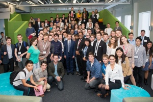 Deputy Prime-minister Dvorkovich with SURF students at Skoltech this week.