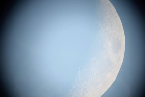 And this is the moon, as seen from the telescope.