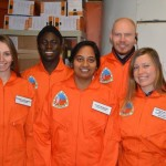 "Skoltech crew 161 on ""Mars"", from left to right: Veronika Shteyngardt, Adeniyi Adebayo, Divya Shankar, Mikhail Khmelik and Natalia Glazkova"