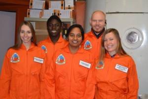 """Skoltech crew 161 on """"Mars"""", from left to right: Veronika Shteyngardt, Adeniyi Adebayo, Divya Shankar, Mikhail Khmelik and Natalia Glazkova"""