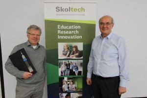Dr. Reinhold Ewald on the left, with Skoltech Prof. Rupert Gerzer.