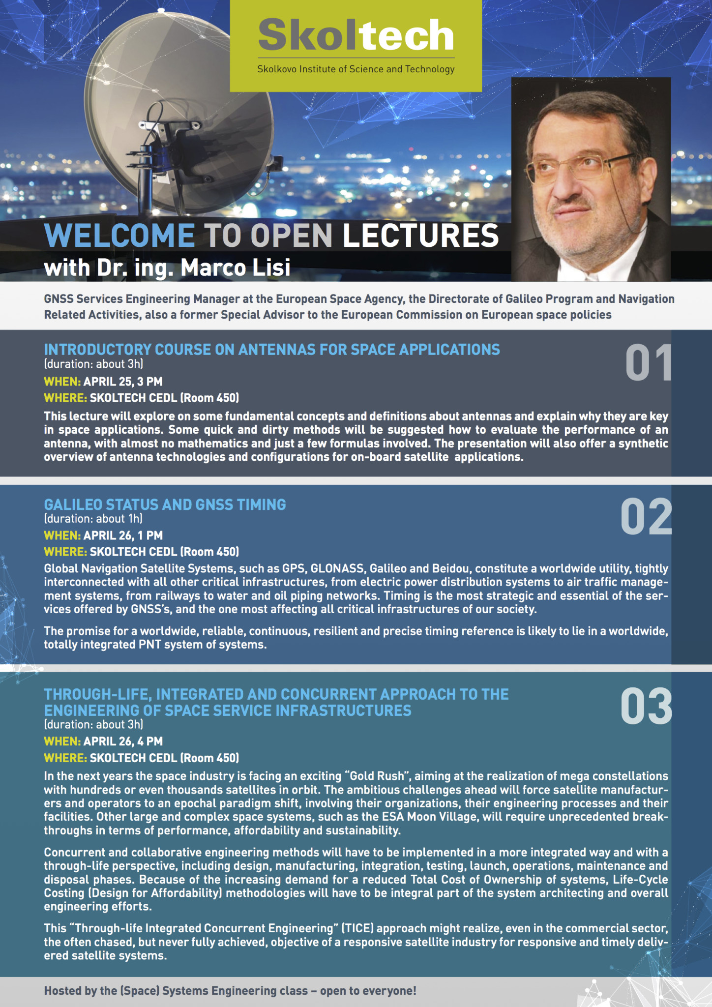 OPEN LECTURES with Dr.ing. Marco LISI