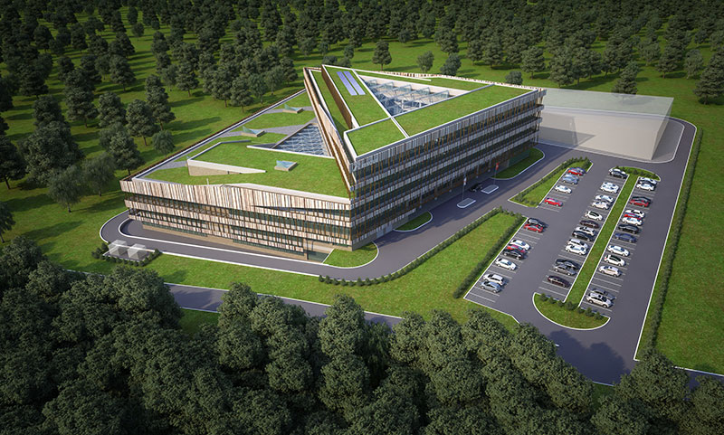 An artist's impression of the Renova Lab building at the Skolkovo Innovation Center, whose aim is to set new standards for the design and construction of research facilities and conditions for the development of science.. Key components of the CREIs' research work are to take place in this hub.